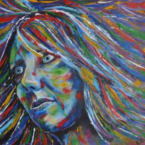 Kleurrijk zelfportret (acryl met paletmes op doek 40x40cm)  -  2013