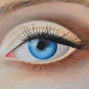 Portretoefening oog (olieverf op paneel 15x10 cm)  -  2016