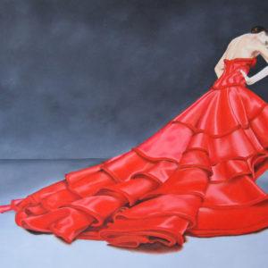 Dressed in red (olieverf op paneel 40x30 cm)  -  2016